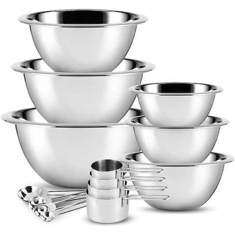 Joytable Premium Stainless Steel Mixing Bowl, Measuring Cups, and Spoon Set