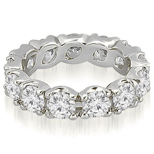 14K White Gold 4.80 ct.tw Round Cut Diamond FishTail Eternity Ring HI, SI1-2