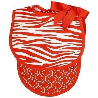 Raindrops Unisex Baby Zebra Bib And Burp Set, Orange - One size