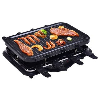 Costway Electric Raclette Grill 1200W 8 Person Party Cooktop Metal Non Stick Black