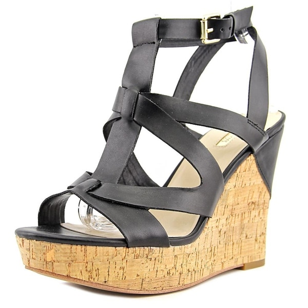 Guess Harlea Women Open Toe Synthetic Black Wedge Sandal