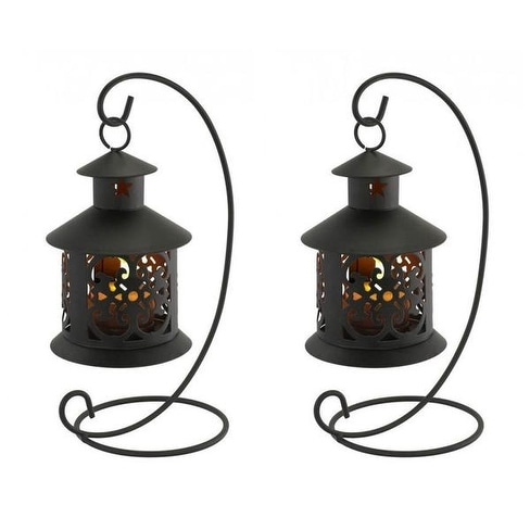 2 Flameless Led Tealight Hanging Lanterns