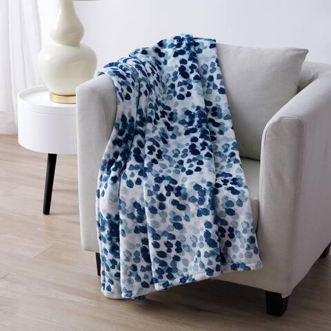Tahari Home Leslie Blue Dot Printed Plush Throw