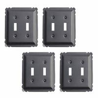 4 Switchplate Black Steel Double Toggle