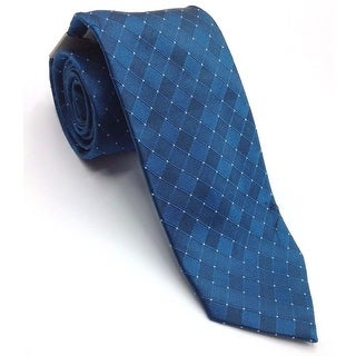 Kenneth Cole Reaction NEW Blue Mens One Size Tonal Grid Silk Neck Tie