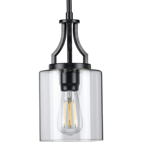Lassiter Collection One-Light Matte Black Clear Glass Modern Pendant Light - 6.375 in x 6.375 in x 12.5 in