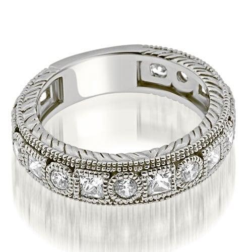 1.00 cttw. 14K White Gold Antique Round Princess Bezel Diamond Eternity Ring