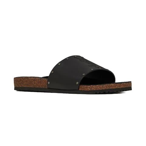 SAINT LAURENT Men's Leather Studded Jimmy Sandal Shoes Black