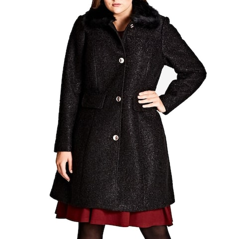 City Chic Womens Peacoat Black XS Plus Button Front Faux Fur Collar