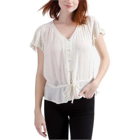 Lucky Brand Womens Dot Button Down Blouse, Off-white, X-Large