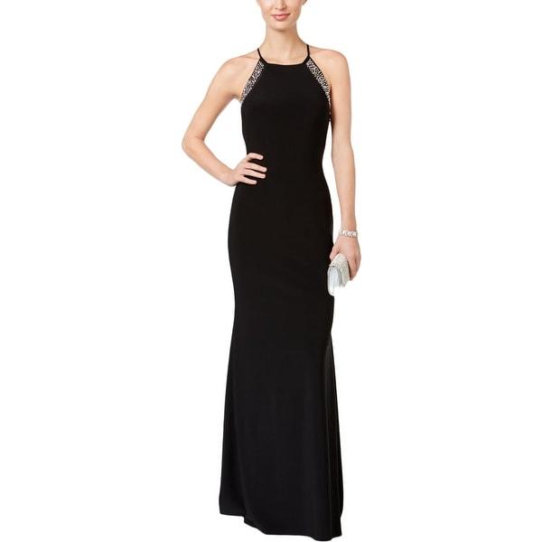 Betsy Adam Womens Semi Formal Dress Embellished Halter