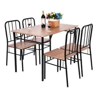 Costway 5 Piece Dining Set Table And 4 Chairs Metal Wood Home Kitchen Modern Furniture - as pic