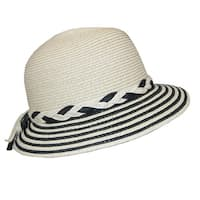 Dynamic Asia Women's Straw Cloche with Striped Brim