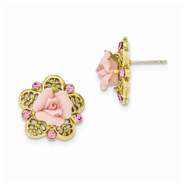Goldtone Pink Crystal Porcelain Flowers Simulated Pearl Dangle Earrings