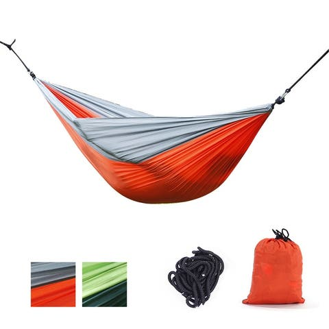 NewAge Portable Double Camping Hammocks Lightweight Parachute for Hiking w/ Tree Straps