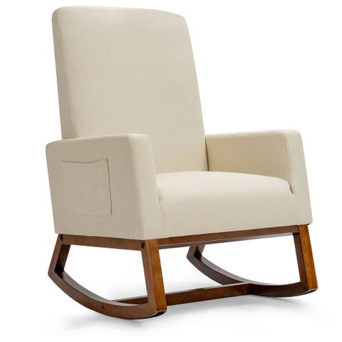 Costway Mid Century Retro Fabric Upholstered Rocking Chair Modern
