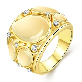Gold Plated Mid Size Ivory Onyx Ring