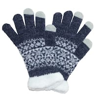 CTM® Women's Eyelash Touchscreen Fairisle Print Gloves