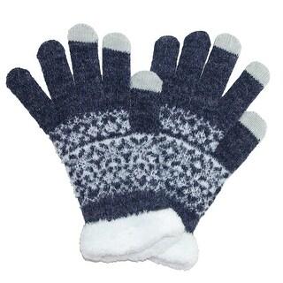 CTM® Women's Eyelash Touchscreen Fairisle Print Gloves