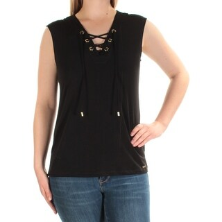 Womens Black Sleeveless V Neck Casual Top Size S