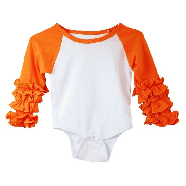 Baby Girls Orange White Ruffle Cuff Crew Neck Long Sleeve Bodysuit 0-3M