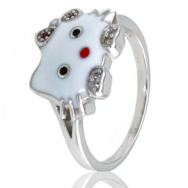 Sterling Silver Gloss Kitty Ring