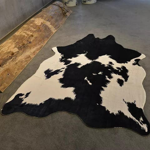 Airi Home Holstein Friesian Faux Cow Hide Area Rug - 5' Ft x 6'6 Ft - 5' x 6.6' Ft