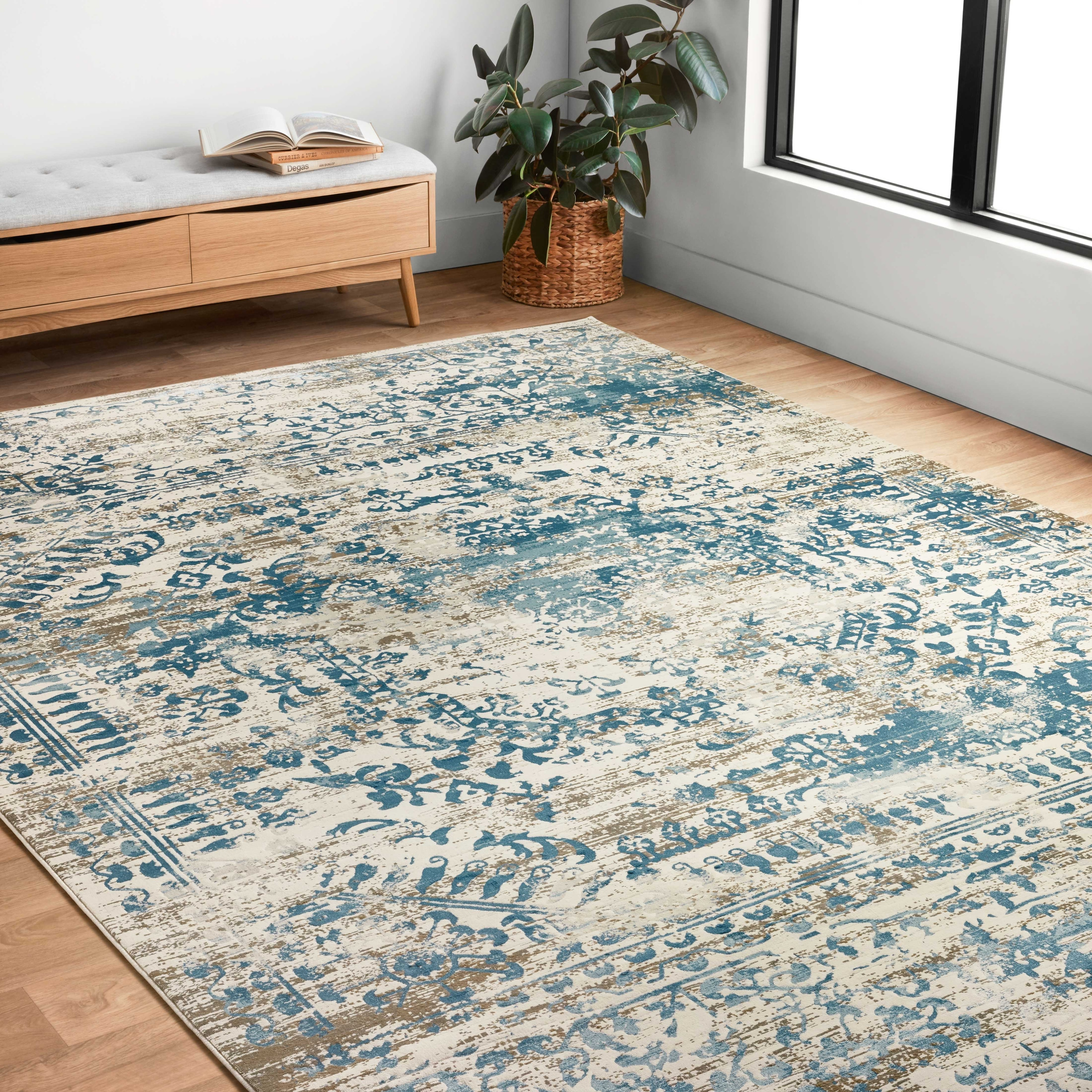 Alexander Home Augustus Persian Inspired Scroll Distressed Area Rug On Sale Overstock 16740139