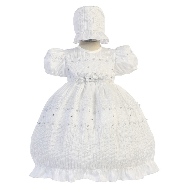 Angels Garment Baby Girls White Puff Sleeve Bonnet Baptism Dress 6-12M