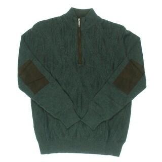 Alex Cannon Mens 1/4 Zip Faux Trim Mock Turtleneck Sweater
