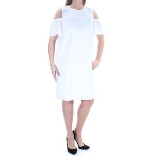 ALFANI $100 Womens New 1213 White Short Sleeve Jewel Neck Shift Dress 4 B+B