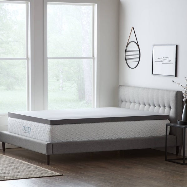 Lucid Comfort Collection Bamboo Charcoal Memory Foam Topper - Gray. Opens flyout.