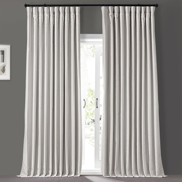 Exclusive Fabrics Blackout Extra Wide Vintage Textured Faux Dupioni Single Curtain Panel. Opens flyout.