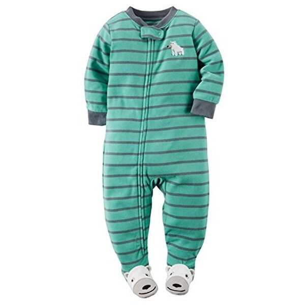 61e00ae124 Shop Carter s Little Boys  1-piece Micro-fleece Pajamas - Mint Striped - 4T  - Free Shipping On Orders Over  45 - Overstock.com - 17767316