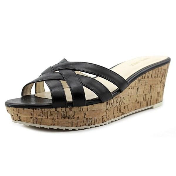 Nine West Caserta Women Open Toe Leather Black Wedge Sandal