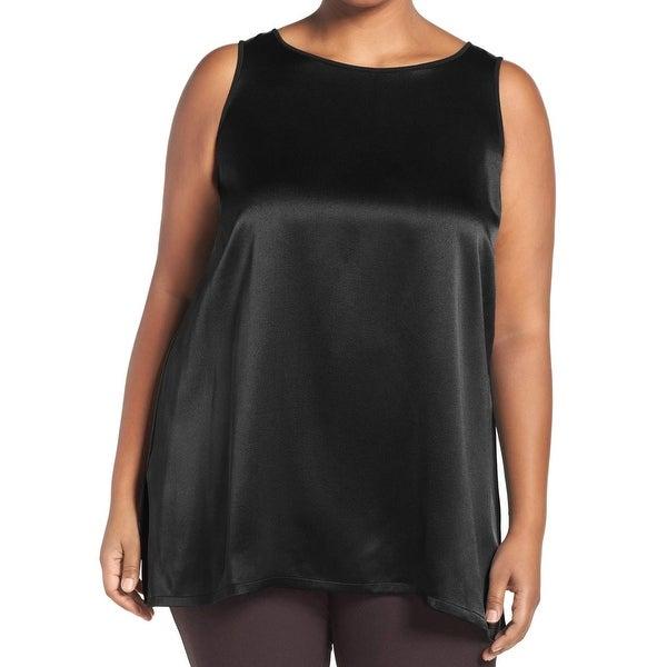 2b76527281b Eileen Fisher NEW Black Women  x27 s Size 1X Plus Tank Silk Crepe Blouse