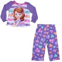 Disney Little Girls Purple Sofia The First Cartoon Print 2 Pc Pajama Set