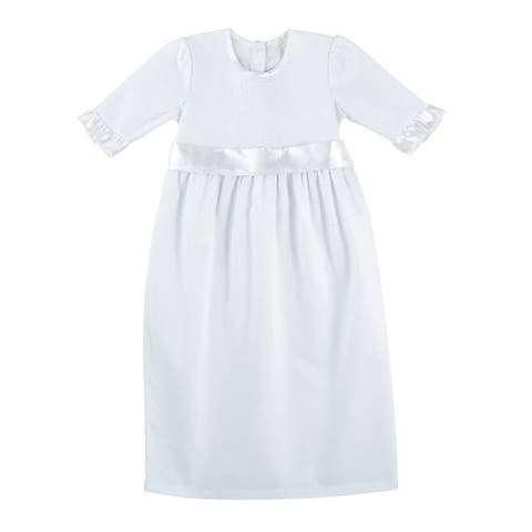 "26"" White Baptism Gown For Girls 0-3 mos"