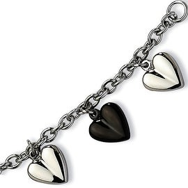 Chisel Stainless Steel Black IP Plated & Polished Hearts 7.5 Inch Bracelet