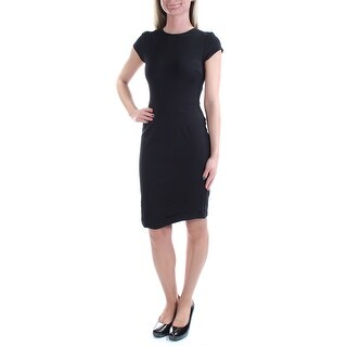 Womens Black Short Sleeve Above The Knee Sheath Cocktail Dress Size: 2X