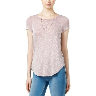 Almost Famous Womens Juniors Casual Top Mixed Media Knit - L
