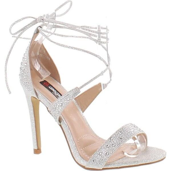 Dbdk By Elegant Footwear Women's Yael-1 Rhinestone Ankle Wrap Sandal