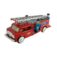 1950`s Fire Engine Tin Friction Toy w/ Siren