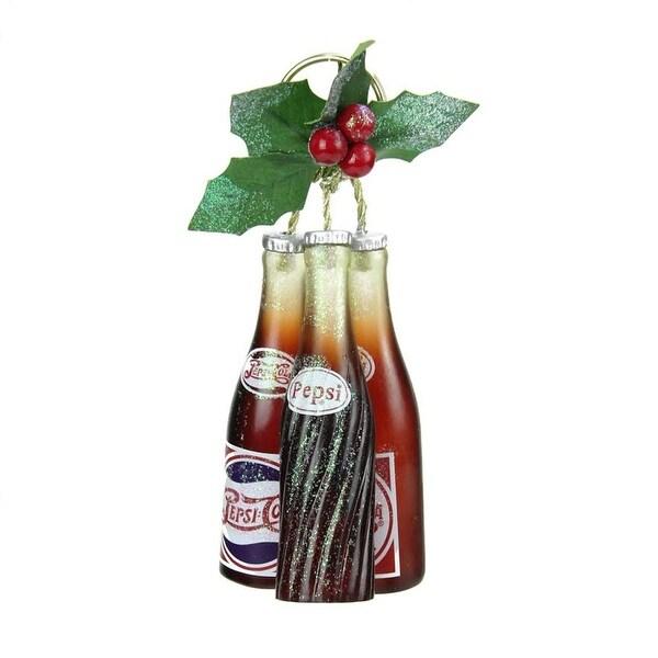 """6.25"""" Glittered Pepsi Jingle Bottles Christmas Ornament - brown"""