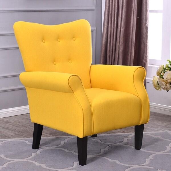 Belleze Modern Linen Accent Chair Armrest Living Room W/ Wood Leg, Citrine  Yellow