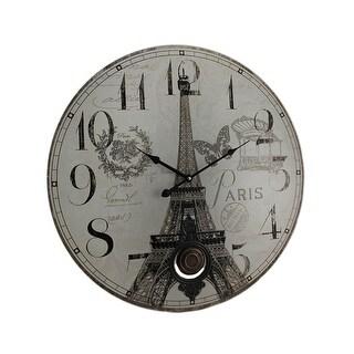 Paris Eiffel Tower Postcard Print Pendulum Wall Clock
