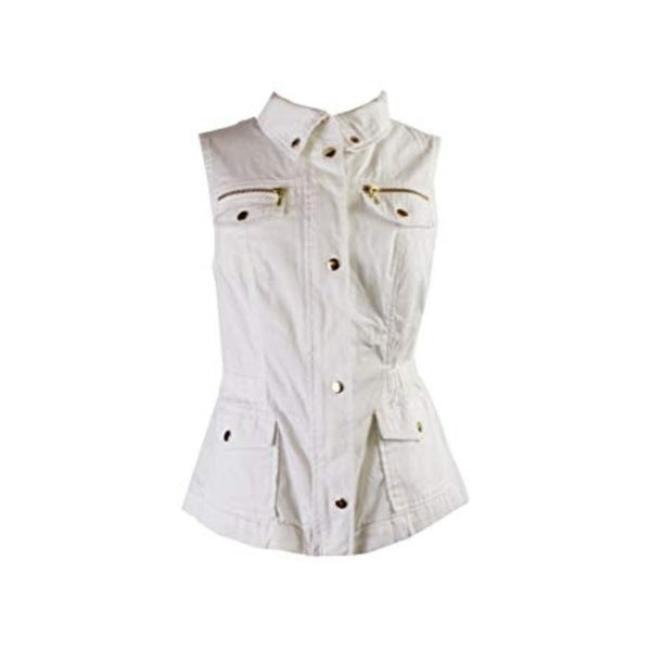INC International Concepts Cotton Twill Vest, Washed White, Large