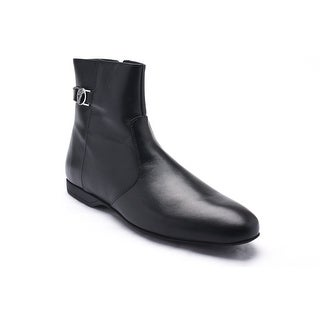 Versace Collections Men Medusa Leather Zip Up Western Oxfords Boots Shoes Black