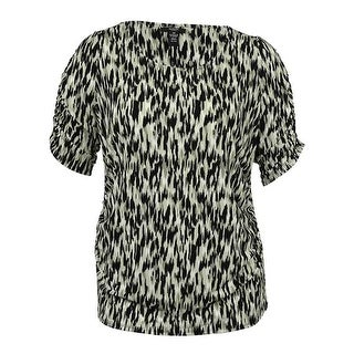 Alfani Women's Short-Sleeve Printed Ruched Top