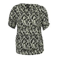 Alfani Women's Short-Sleeve Printed Ruched Top - ikat spot neutral